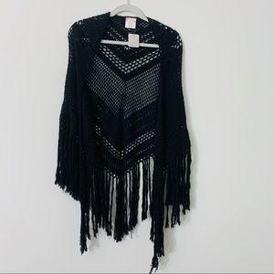 Free People Gorgeous Black Woven Fringe Shawl